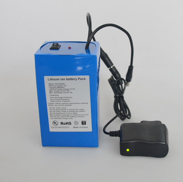 2016 OEM long life cycle 12v lithium ion battery pack for LED panel with charger