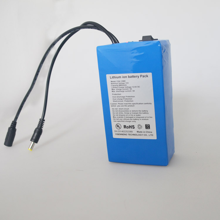 Portable 13000mah 12v rechargeable lithium polymer battery pack for LED panel and solar system